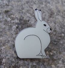 European White Mountain Hare Rabbit Wildlife Brooch Wild Animal Mammal Pin Badge