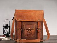 S-L Vintage Leather Messenger Cross body Laptop Briefcase Satchel Bag Handmade