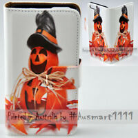 For Samsung Galaxy Note Series Smiling Halloween Print Wallet Mobile Phone Cover
