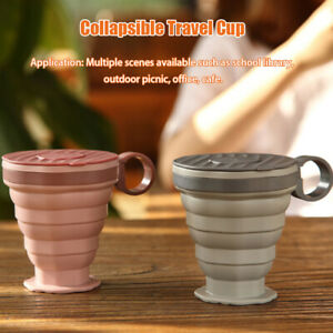 With Lid Outdoor Sports Soft Silicone With Ring Collapsible Travel Cup 220ml