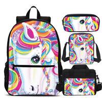 Unicorn Girl Backpack  Insulated Lunch Bag  Crossbody Bag  Pen Bag  Kids Set 198102dd24883