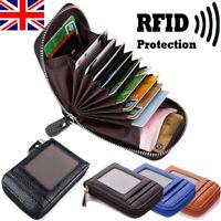 Vintage Genuine Leather RFID Card Holder Women Men Wallet Credit Card Holders UK