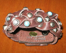Genuine Leather Bracelet Cuff Studded Brown Turquoise Blue Southwestern Jewelry