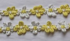Woven Florwer Trim-Yellow & White 5/8- By the yard