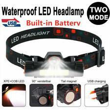USB Wiederaufladbare LED Stirnlamper Scheinwerfer Kopflampe Wasserdicht Hell DE