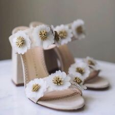 Brand New Charlotte Olympia Floral-Embroidered Linen Block Heel Mules Sz 36.5