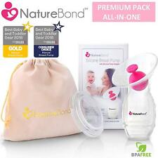 NatureBond Silicone Manual Breast Pump Breastfeeding Milk Saver Suction BPA Free
