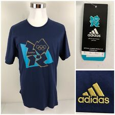 London 2012 Olympics Adidas Mens XL Shirt Embroidered Logo Blue Gold NWT