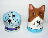 PUPPY DOGS PAIR SET OF 2 DIFFERENT SALT AND PEPPER SHAKERS