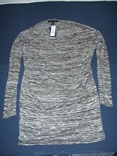 White House Black Market Grey LS Spacedye Tunic  Medium New With Tags