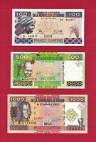 GUINEA UNC NOTES: 100 Francs 1998 P-35a.2, 500 Fr 2017 P-47b & 1000 Fr 2010 P-43