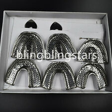 6 Pcs/Box Dental Autoclavable Metal Impression Trays STAINLESS STEEL Upper Lower