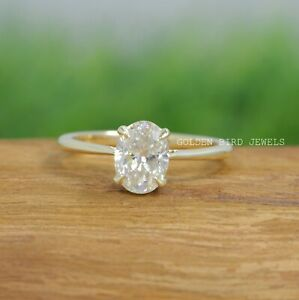 1 CT Crushed Ice Oval Moissanite Solitaire Yellow Gold Engagement Ring For Her