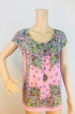 ANTHROPOLOGIE Moulinette Soeurs 100% Silk Top Shirt Pink Floral Boho Print Sz-XS