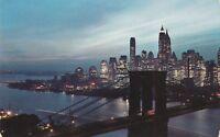 (U)  New York City, NY - Night View of the Brooklyn Bridge and Lower Manhattan