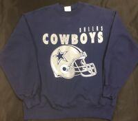 VTG 90s Hanes Dallas Cowboys NFL Crewneck Sweatshirt Men's SZ L Spell Out Logo's