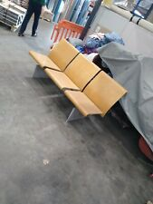 More details for vintage 3 x 3 seat wood/metal benches from bbc studios manchester.