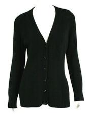 PRADA Black Wool Cashmere Button Front Cardigan Sweater 46