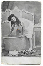 Saucy Lady Posed Getting into Bath PPC, Addressed to Arizona but Unsent