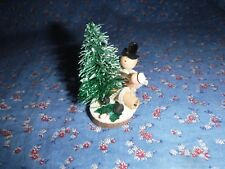"Vintage Japan Christmas Mixed Material Figure  Christmas Tree Scene  2 1/2"" High"