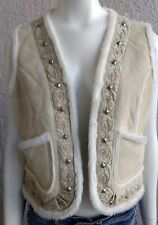 Suede Leather Vest by A.M.I. Beige Embroidered Metal Studs Women's Size Medium