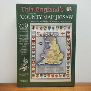 Vtg 1989 This England's County Map Coat of Arms Jigsaw Puzzle 750pc - New Sealed
