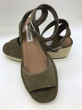 Steve Madden Wedge Sandals Olive Green Suede Leather With Ankle Strap Size 6.5 M