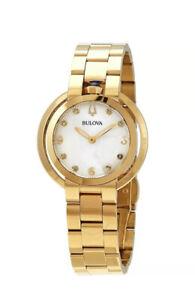 Bulova Rubaiyat Women's Quartz Gold Tone White Dial 35mm Watch 97P125