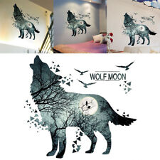 New Howling Wolf and Moon Wall Sticker Decal Art Home Office Room Decor Silent