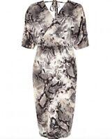 BNWT RIVER ISLAND snake print wrap front stretch midi party dress size 8 RRP £38