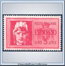 1945 Luogotenenza Espresso Turrita L. 5 rosso n. 24 **