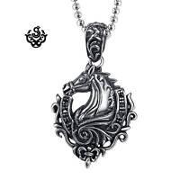 "Silver horse pendant fleur-de-lis stainless steel black crystal necklace 24"""