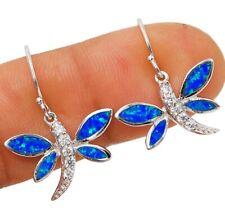 Dragonfly Australian Opal Inlay 925 Solid Sterling Silver Earrings Jewelry