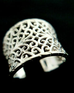 Ladies Contemporary Chunky 925 Sterling Solid Silver Filigree Design Ring Size L