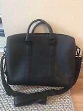 Calvin Klein Black Leather Briefcase  Cross Body Business Laptop Shoulder Strap