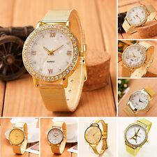 Luxus Damen Quzrz Armbanduhr Uhr Gold Edelstahl Analog Quarz Lässig Watch Gift