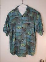 Island Republic Mens Hawaiian Shirt Size XL  Button Down Green
