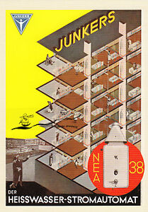 Karte: Reklameblatt Junkers & Co., Heißwasser-Stromautomat NEA 38 - Nachdruck