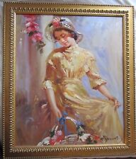 W. HONNER - ORIGINAL PAINTING - LISTED DUTCH ARTIST - FRAMED - PORTRAIT OF LADY