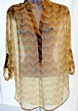 TACERA Women's Chiffon Sheer Chevron Blouse Tunic Top Shirt Tab Sleeve sz M NEW!