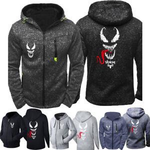 Venom Spider Man Thin Hoodie Print Sweatwear Casual Zipper Hooded Jacket Coat