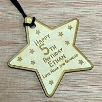 PERSONALISED Wooden Any Age Engraved Birthday Gift Tag Baby Star Design GT06