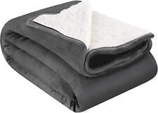 Sherpa Flannel Fleece Reversible Blanket Extra Soft Brush Fabric Lightweight