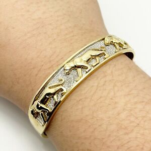 Solid 14k Yellow White Gold Panther Bangle Bracelet (9220)
