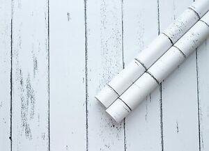 White Worn Wood Effect 3D Sticky Back Plastic Fablon Furniture Sticker Wallpaper