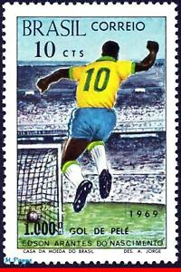1144 BRAZIL 1969 - 1,000th GOAL BY PELE, SOCCER FOOTBALL, MI# 1238 C-658, MNH