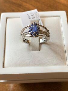 Burmese Blue Sapphire & Zircon Halo Platinum Overlay Sterling Silver Ring Size M