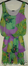 BNWOT RARE Kate Moss Topshop Purple Yellow Tiered Frilly Elastic Dress Size 8