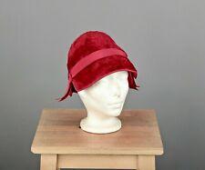 Vtg Women's 40s Miss Dior Red Velvet Cloche Hat 1940s Christian Dior