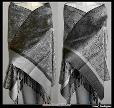 Soft New Pashmina Paisley Floral Silk Wool Scarf Wrap Shawl-Black/Grey.LE